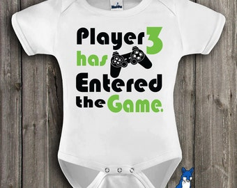 Baby Clothing-Geekery baby clothes-Gamer baby-Funny Baby Clothes-Player 3 has entered the game-baby bodysuit-Nerdy baby-Blue Fox Apparel-248