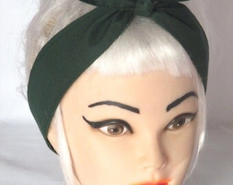 Pinup Rockabilly Narrow Headband Head Scarf Hair Wrap Skinny Narrow Hunter Green Forest