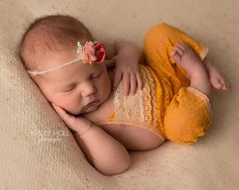 Newborn Romper Prop; Newborn Girl Romper; Yellow; Summer Romper; Newborn Photo Prop; Newborn Overall; Newborn Girl Pants; Newborn Pants Prop