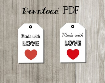 Printable label tags Made with love/  download pdf image sheet/ favors gift tags