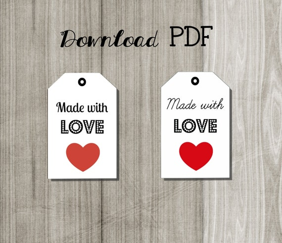 printable label tags made with love download pdf image. Black Bedroom Furniture Sets. Home Design Ideas