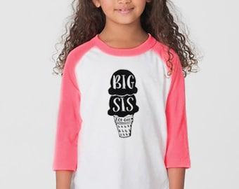 Cute Big sister shirt. Toddler sister shirt. Hand drawn. New sister long sleeve Tshirt. American Apparel.