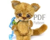 "PDF pattern artist teddy cat Slawik 5.7"", ePattern, Instant Download, sewing pattern, kitten pattern, artist cat pattern"