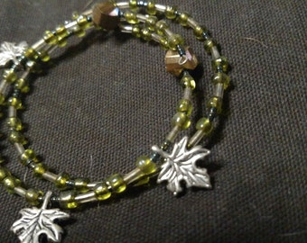 Green leaf wrap braclet 2 pieces