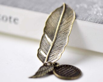 Antique Bronze Angel Feather Wing Kit Charms Set of 10 A7894