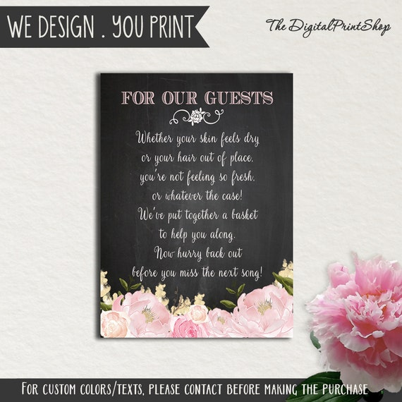 wedding bathroom basket sign note chalkboard modern for guests