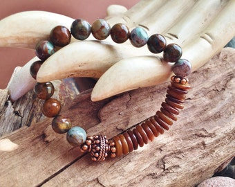 Green African Opal, Brown Shell and Copper Elastic Bracelet