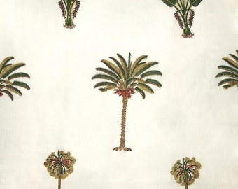 COTTON FABRIC DESIGN 1 - Block printed with palm tree motif