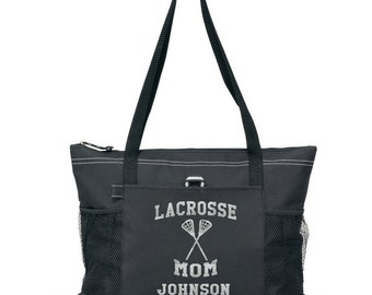 "PLAYER NAME 20"" Lacrosse MOM Sports Bag with soft Microfiber or Glitter design"