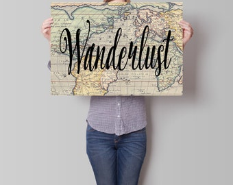 Wanderlust Map Poster, Travel Art, Motivational Print, World Map Poster, Vintage Map Poster, Inspirational Quote, Vintage Map
