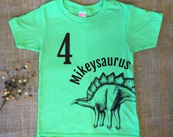 Personalized Kids Dinosaur TShirt. Customized Birthday Shirt. Dinosaur Birthday Shirt. Toddler Dinosaur Shirt. Boys Dinosaur T shirt Green