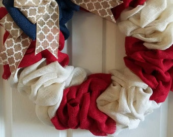 Patriotic Wreath Front Door Wreath // 4th of July Wreath // Red, White & Blue Wreath // Memorial Day Wreath // Summer Wreath