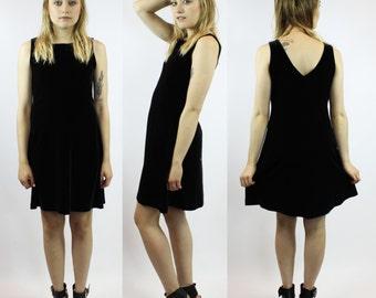 90s Black Velvet Mini Dress - Vintage Little Black Dress