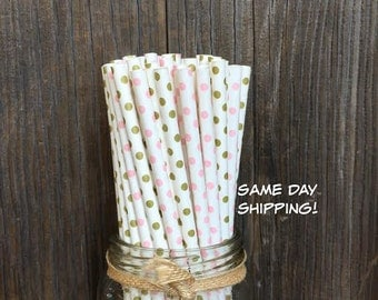 100 Gold and Pink Polka Dot Paper Straws- Wedding, Baby Shower, Party Supply