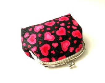 Heart frame purse, pink heart on black frame pouch - silver metal kiss lock clasp red pink clutch bag, frame snap coin pouch