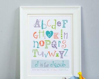 Personalised alphabet print, children's art, a-z, typography, nursery art, baby boy