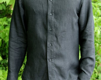 Black linen classic handmade men's shirt