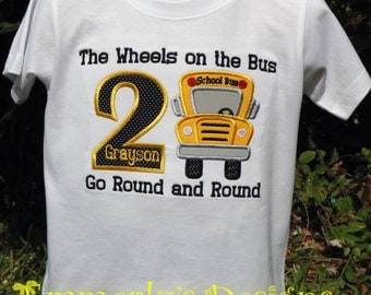 Wheels on the Bus Birthday Shirt