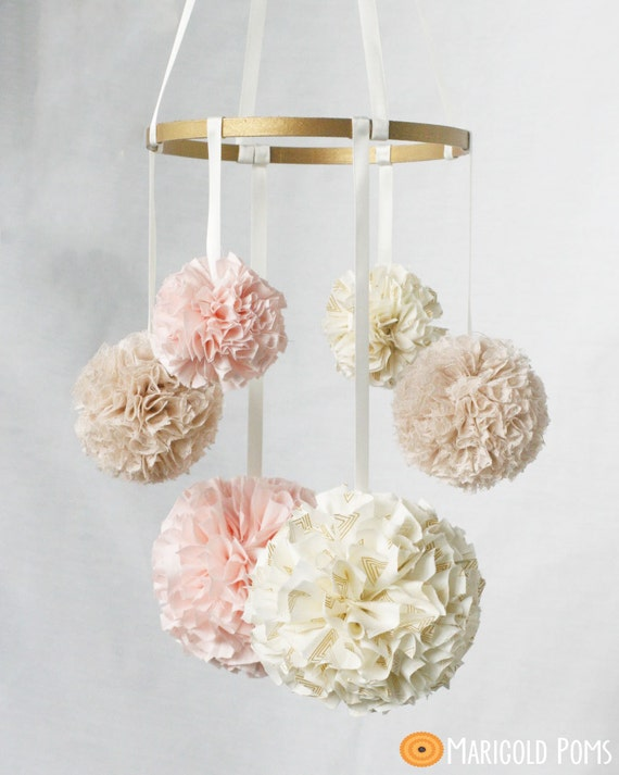 Pom pom baby mobile custom nursery decor nursery mobile for Hanging pom poms from ceiling