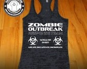 Zombie Outbreak Response Team Tank Top - Racerback Burnout Tank Top. Funny Womens Workout Tank Tops. Cross Training Tank Top. Zombies