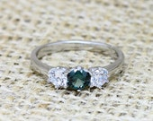 Genuine Tsavorite and White Sapphire Vintage style 3 stone trilogy ring  engagement ring  wedding ring