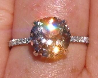Peachy Pink Morganite in White Gold Diamond Solitaire Engagement Ring, Morganite Engagement Ring