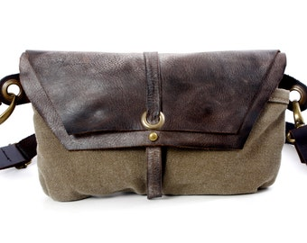 Hip Bag - Fanny Pack - Traveler Bag - Utility Hip Belt - Hip Pouch-Hadmade distress Leather Bag