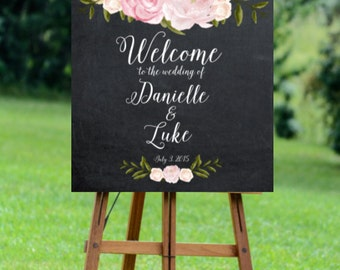 printable wedding sign, welcome wedding sign, digital wedding sign, pink rose welcome sign, floral wedding sign, 16x20, 18x24, 24x30, custom