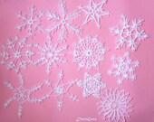 Crochet snowflakes, lace snowflakes, white Christmas decoration, tree Christmas lacy snowflakes, rustic ornament ornaments, Set of 12 (C47)
