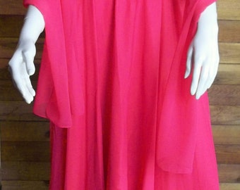 Vintage DESSY CREATIONS Hot Pink Chiffon Dress Formal Sz 10 Strapless Prom Gown