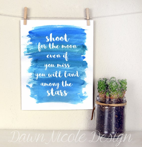 Modern calligraphy quote shoot for the moon
