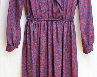 Gorgeous late 70's/ early 80's Vintage Lady Carol/ Long Sleeve/ Pink and Purple/ Paisley Secretary Dress