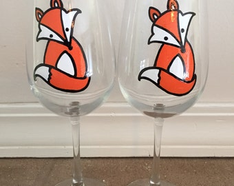 Hand Painted Fox Wine Glasses - set of 2