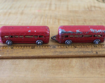 Set of 1940s Barclay Red Metal Train Caboose Cars