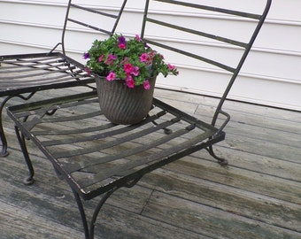 Vintage Wrought Iron Patio Chairs Mid Century Set of 4