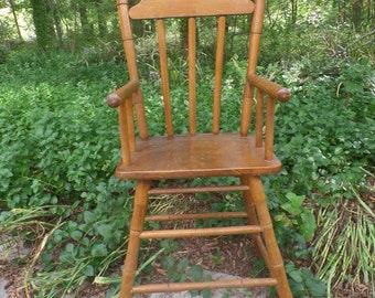 Vintage Wooden Mid Century Highchair Early American