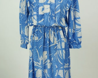 Vintage 1980s Blue and White Dress by Jonathan Martin Size S