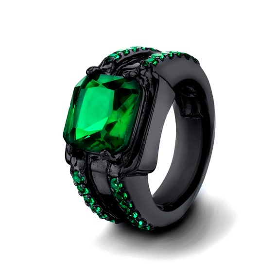 black ring emerald cut 14k black gold filled by