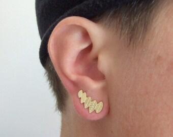 Gold Leaf Stud Earrings - climbing earrings , stud earrings , gold stud earrings , stud leaf earrings , woodland earrings