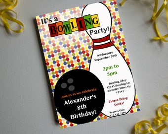 Bowling 01-Birthday-Printable Invitation-Print Yourself-INSTANT DOWNLOAD-Self Edit-Editable File-Birthday Party-Bowling Party
