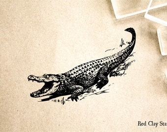Alligator Mouth Open Rubber Stamp - 2 x 4 inches