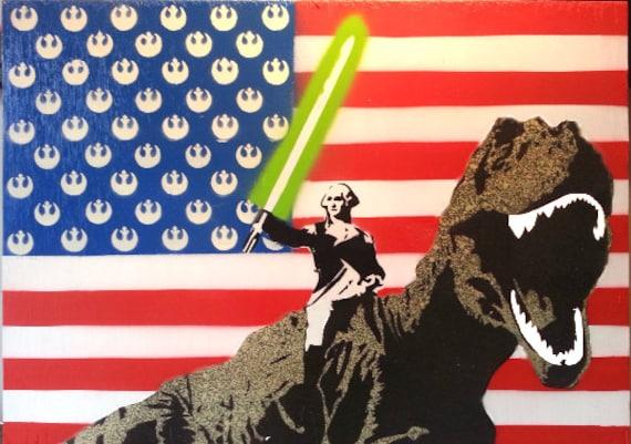 Merica George Washington with Lightsaber by NoBuddyStreetArt