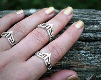 Sterling Silver Shield Ring - Midi Ring - Trending Rings - Statement Rings