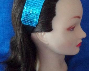 Sale Shiny Blue Sequin Headband