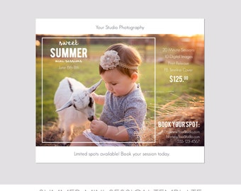 INSTANT DOWNLOAD, Mini Session Postcard, Photography Template, Flyer, Minis, Kids, 5x7, Photoshop, Elements, Easy, Summer Photo Session