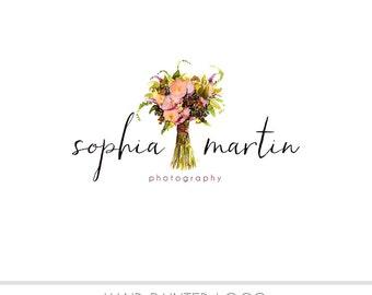 CLEARANCE - Watercolor Logo - Floral Bouquet Watermark Business Logo -  Children, Wedding, Drawn, Simple, Kids, Newborn, vintage, rustic