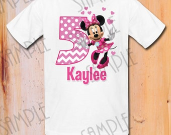 T-shirt Disney Minnie Mouse Iron On Transfer Printable Birthday Girl digital download Personalized Mickey Mouse Birthday Party shirt