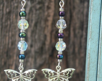 Silver butterfly, dangle earrings with crystal (imitation) and multi-color beads.