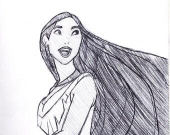 Pocahontas Disney Sketch Drawing