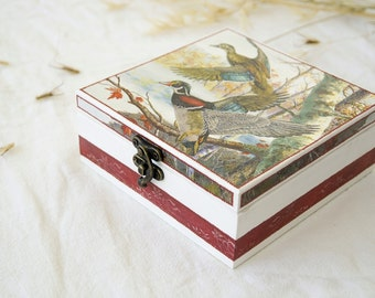 SALE! Decoupaged jewelry box with ducks - Birthday gift - Wooden box - Decoupaged Jewelry box - Duck decor - Jewelry storage